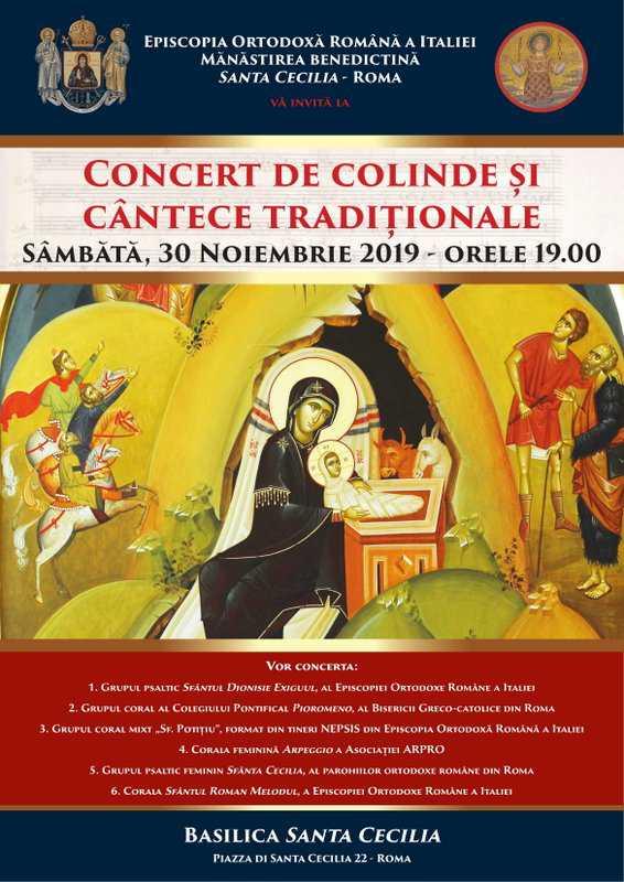 Concert de colinde și de cântece tradiționale la Roma – 30 noiembrie 2019